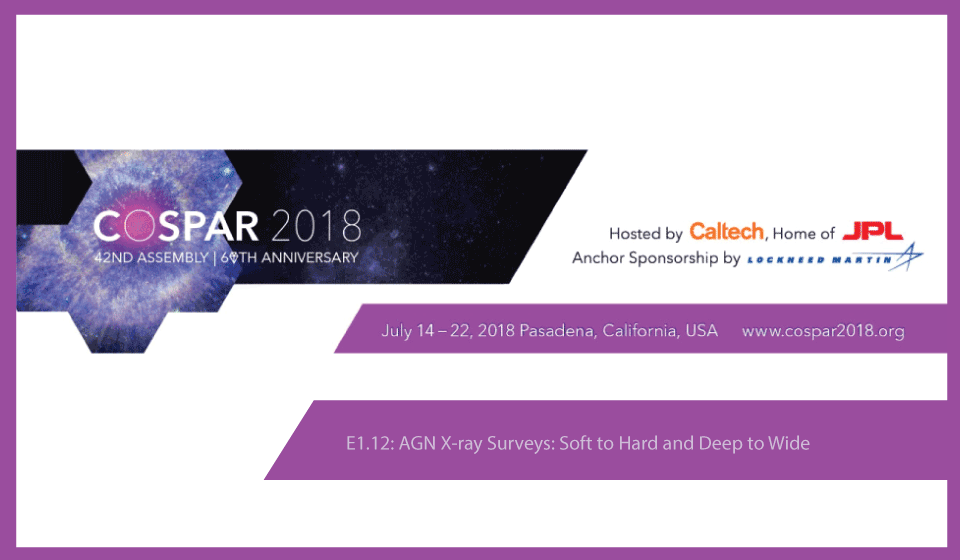 "Evento Científico E.12 en COSPAR, ""AGN X-ray Surveys: Soft to Hard and Deep to Wide"""